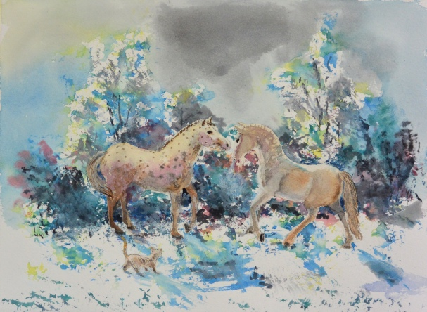 hästar i snön (akvarell)