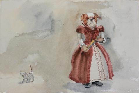 kattungen och hunddamen (akvarell)